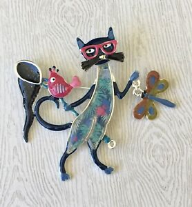 Adorable-Cat-dragonfly-amp-bird-brooch-pin-in-enamel-on-metal