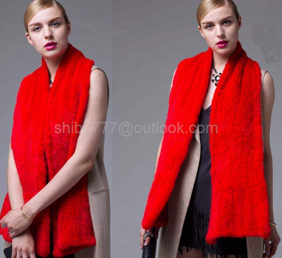 100% Real Genuine Knit Mink Fur Scarf Shawl Stole Wrap Cape bride Ladies -Red