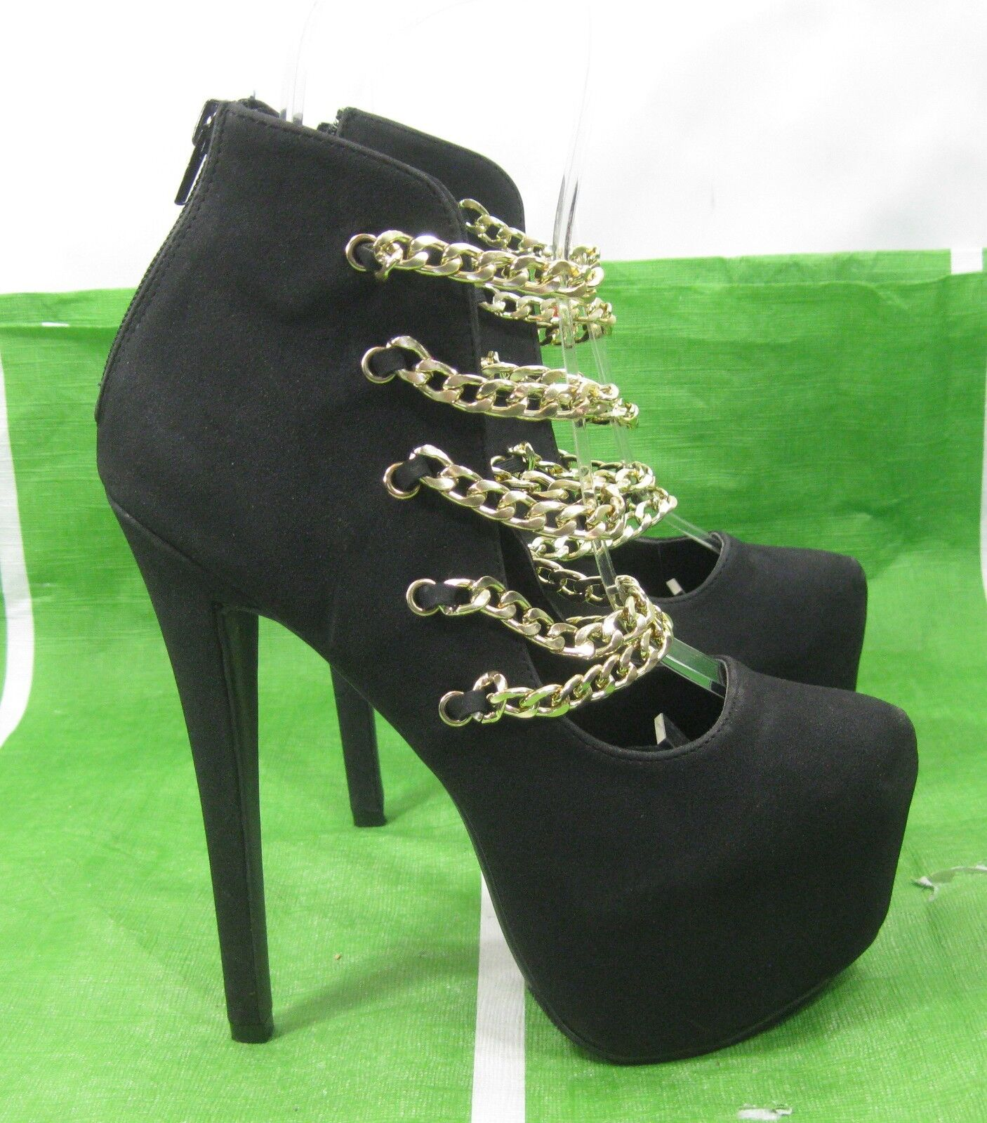 New ladie Black gold chains 6.5 Heel 2.5 Platform pointy Toe Sexy shoes Size 5.5