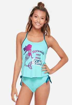 Girls Mermaid Sequin Flutter Tankini Swimsuit Size 14 NEW NWT