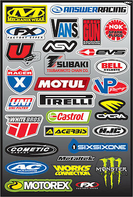 Factory Effex Sponsor Micro Sticker Decal Sheet Dunlop Michelin Vortex