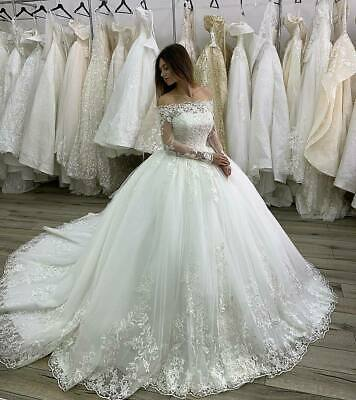 Long Sleeves Off Shoulder Wedding Dresses Appliques Bridal Ball