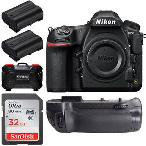 Nikon-D850-45-7MP-DSLR-Camera-Body-Battery-Grip-32gb-Top-Accessory-Bundle-New