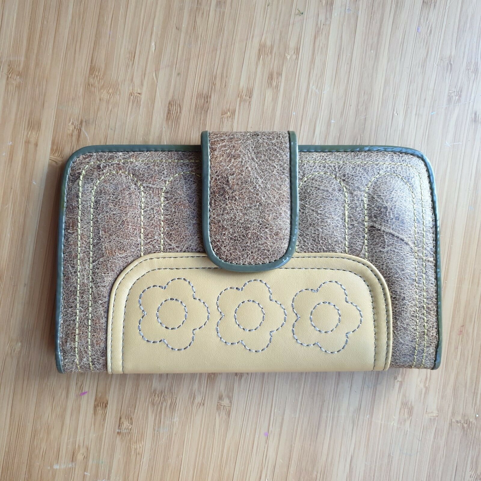 Spencer Rutherford beige & soft brown Large wallet with stitched detail.