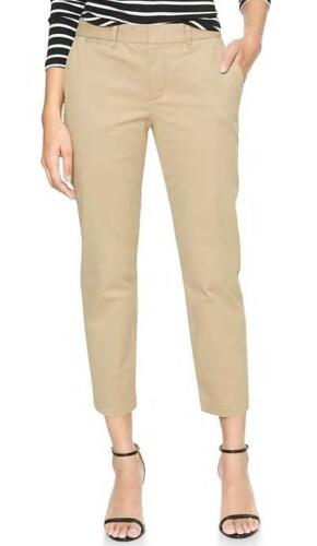 NEW NWT Womens GAP Slim City Cropped Crop Pant Pants Stretch Khaki Color *3H