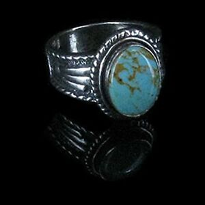 UNISEX-925-Sterling-Silver-Natural-Turquoise-Ring-Band-Size-9