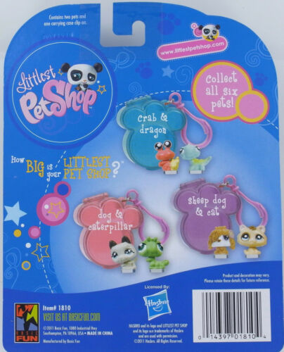 LPS Littlest Pet Shop Teeniest Tiniest Pets SET Crab /& Dragon Paw Clip-On Case
