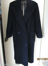 WOMENS SAKS FIFTH AVENUE LONG WOOL COAT sz 8 with Suede Patches Dark Navy