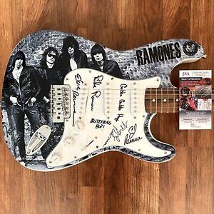 The-Ramones-Signed-Guitar-JSA-COA-Custom-1-1-Graphics-X4-With-Inscriptions