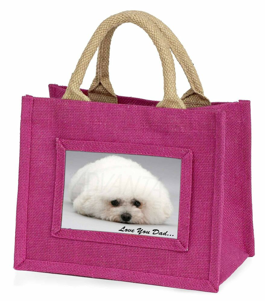 Complexé Bichon Frise 'love You Dad' Little Girls Small Pink Shopping Bag Chr, Dad-166bmp Limpide à Vue