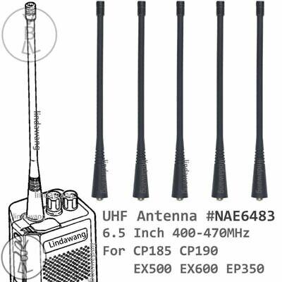 5x UHF Long Antenna for Motorola CP185 CP190 EX500 EX600 EP350 Portable Radio