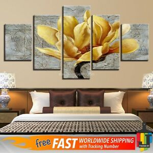 Yellow And Gray Canvas Wall Art.Details About Yellow Gray Wall Art Home Decor Large Flower Floral Prints Canvas 5 Piece Orchid