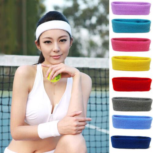 Women//Men Cotton Sweat Sweatband Headband Yoga Gym Stretch Head Band Sport Sl
