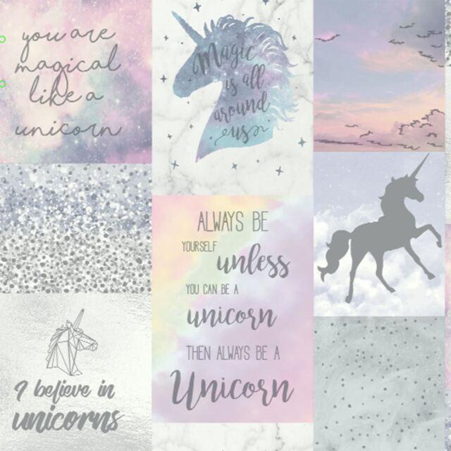 Believe In Unicorns Glitter Metallic Wallpaper Girls Arthouse 698300