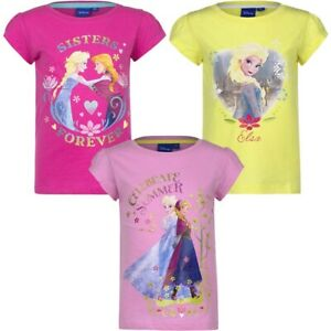 T-shirt fille , Frozen , 100% coton , Anna Elsa 4,5, 6 ou 8ans. Neuf, DESTOCKAGE