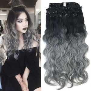 Neitsi 24'' 8Pcs Long Curly Clip in Synthetic Hair Extensions Ombre Deep Dyed