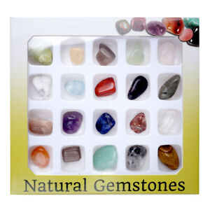 20pcs Reiki Healing Chakra Semi-Precious Gemstone Polished Rock Beads Box Set