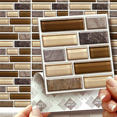8 Glass Stone Tablet Stick On Wall Tile Stickers Transfers For Kitchens Bathroom