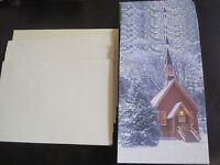 12 Christmas Cards 9 Envelopes Paper Magic Church Trees Snow Woods Glitter