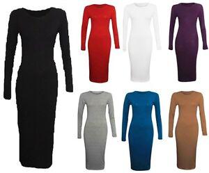 New-Ladies-Womens-Plain-Long-Sleeve-Stretch-Jersy-Bodycon-Midi-Maxi-Dress-Tunic