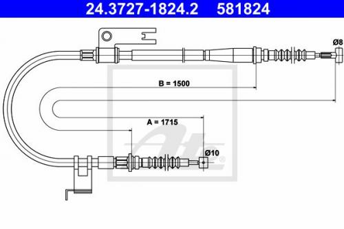 Feststellbremse für Bremsanlage 24.3727-0102.2 ATE Seilzug