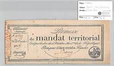 MANDAT TERRITORIAL - 500 FRANCS (AVEC LE N° DE SERIE) 28 VENTOSE AN 4 DUBOURG