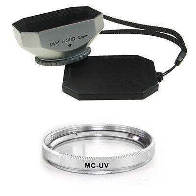 30mm Silver Mennon Hood + Mcuv Filter For Sony Dcr-sr82,dcr-sr82e,dcr-sr85, Usa Zonder Terugkeer
