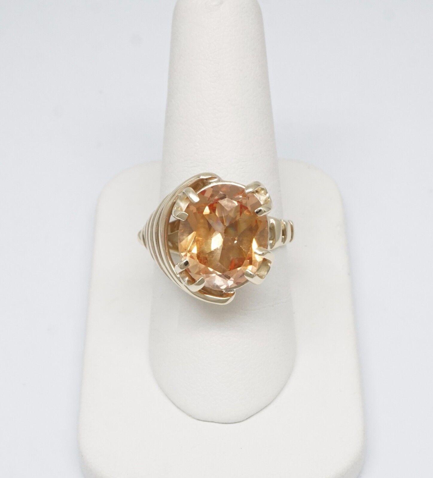 10K Yellow gold + - 8 1 4 CT TW Synthetic golden Quartz Fancy Statement Ring