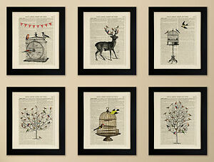 SET-OF-6-FRAMED-ART-PRINTS-ON-OLD-ANTIQUE-BOOK-PAGE-Birds-Deer-Stag-Vintage