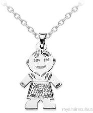 Personalized 25x16MM Baby Boy Diamond Necklace 14K White Gold