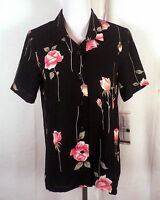 NWT new Alfred Dunner black Floral Blouse Button down Top Shirt sz 6P petite