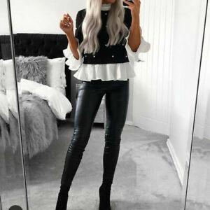 Women Mesh Shher Puff Sleeve Polka Dot Shirt Ladies Long Sleeve Blouse Top 10-16