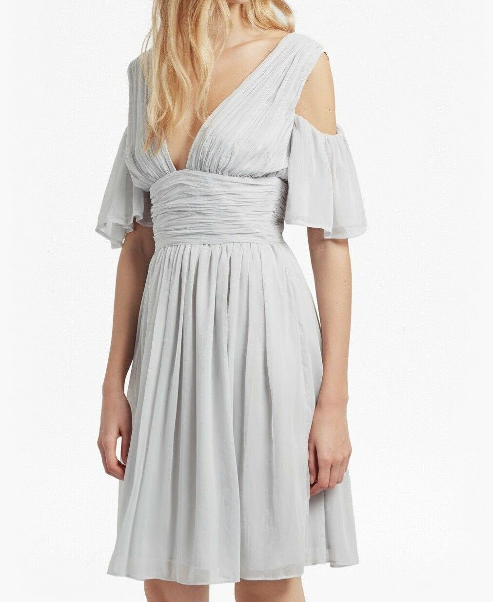 NEW French Connection Constance Draped Cold Shoulder Dress Freeway grau