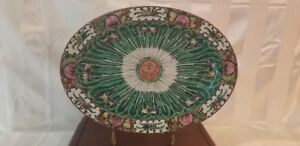 """Cabbage Pattern - 19th Century Qing Dynasty - 16 1/2"""" x 11 7/8"""" Platter - Green"""