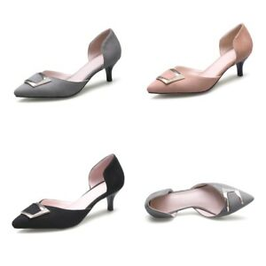 d7c9d5824a50 Lady s Kitten Heel Pointed Shoes Pumps Suede Fabric D orsay Sandals ...