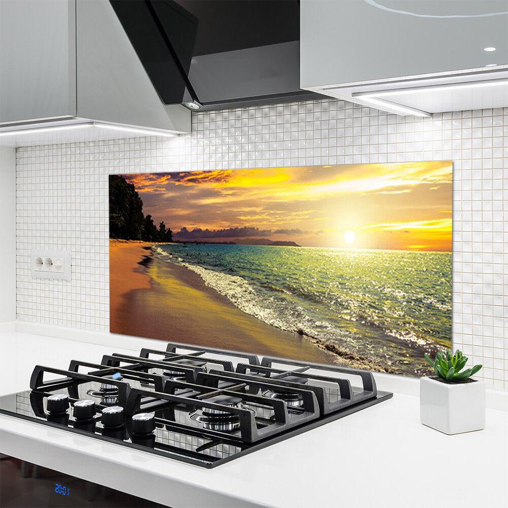 Crédence de cuisine en verre Panneau 120x60 Paysage Soleil Plage Mer Arbre