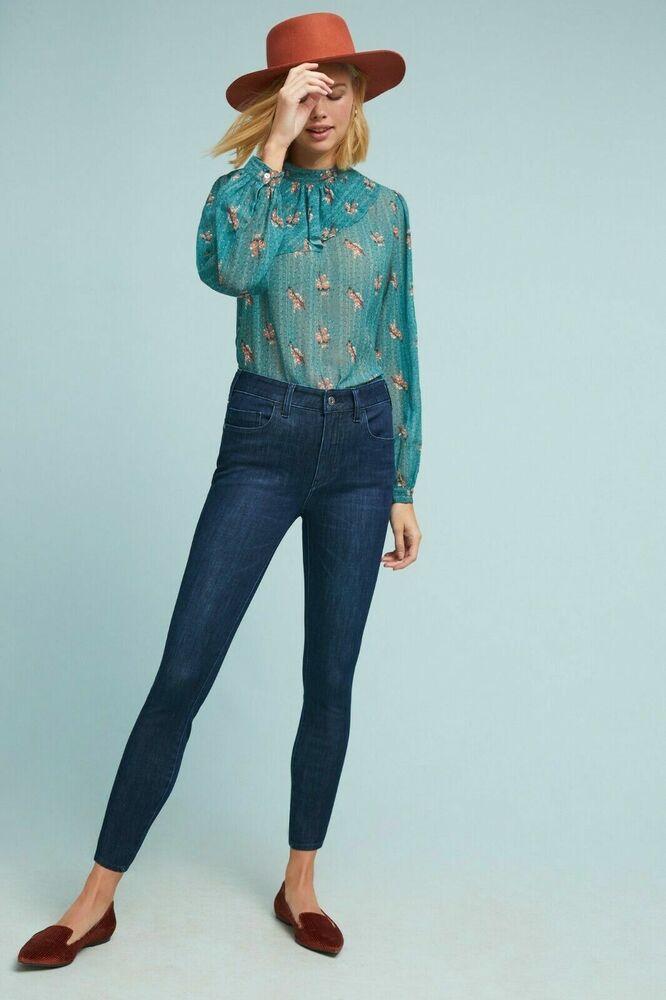 Anthropologie Pilcro Letterpress High Rise Denim Legging Jeans 28 Petite Bleu