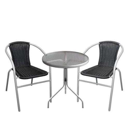 Mobili BISTROT ARREDO BALCONE set tavolo in vetro ø60cm 2x POLYRATTAN SEDIE batch Nero//Grigio