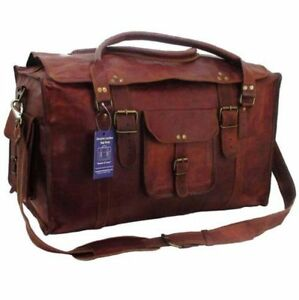 Image is loading 21inch-Mens-Vintage-Genuine-Leather-Flap-Duffel-Carry- 48f253ed0a06c