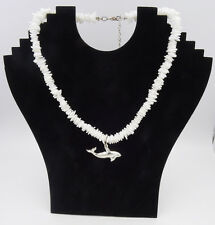 """New 18"""" Chipped Puka Shell Necklace with Dolphin Pendant #N2129"""