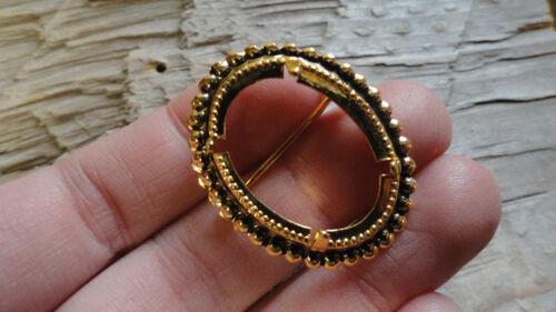 Pkg 3 0467AAA Vertical ovale Broche Hamilton plaqué or 18x25mm perles facettes