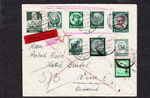 Details about Germany GREENS 1934 Berln Express To Vienna 3 Different Wien  Backstamps w2