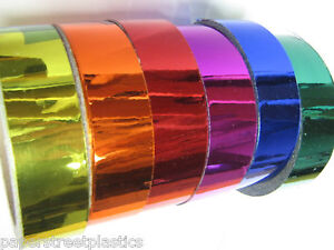 Colored-CHROME-Vinyl-Tape-Pick-your-Colors-and-Sizes-Sticky-Plastic-Vinyl-Tape