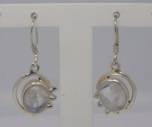 Sterling-Silver-Moonstone-Earrings-4-5-Grams-UK-SELLER