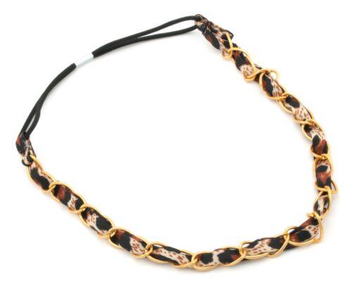 Zest Linked Chain /& Ribbon Headband Gold /& Brown Leopard Print