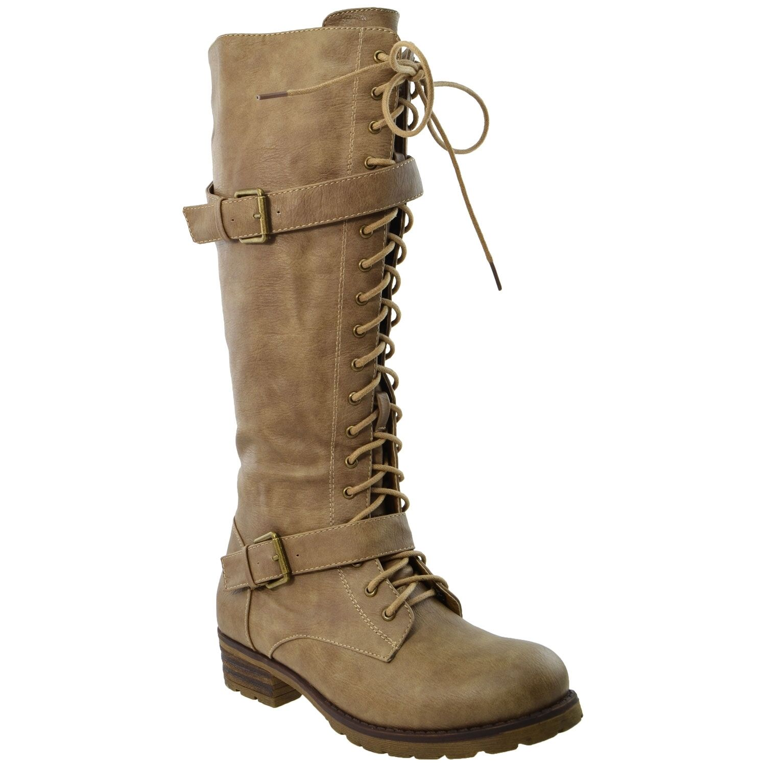 Womens Lace Up Combat Western Leather Knee High Boots w  Buckle Straps Taupe