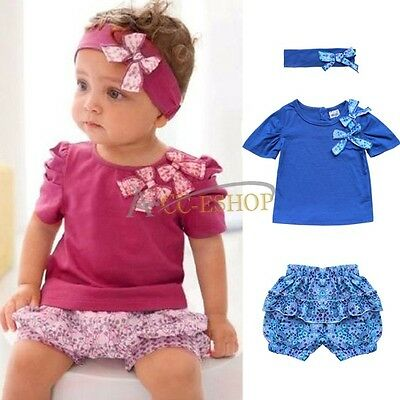 3PCS Baby Girls Short Headband+Top+Pants Set Outfit Clothes SZ 6-24 Months Cute
