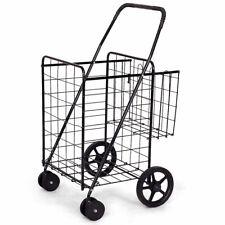 Utility Shopping Cart Foldable Jumbo Basket Outdoor Grocery Laundry w/ Wheels