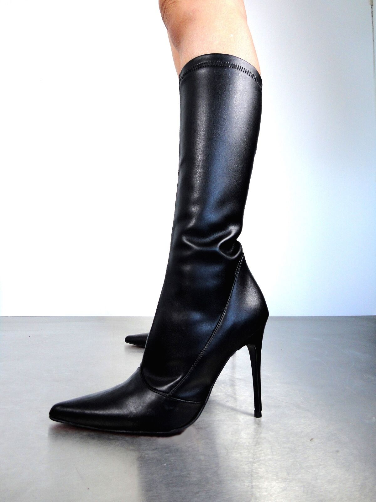 GIOHEL ITALY POINTY KNEE HIGH HIGH KNEE HEEL BOOTS STIEFEL STIVALI STRETCH PELLE NERO 35 334681