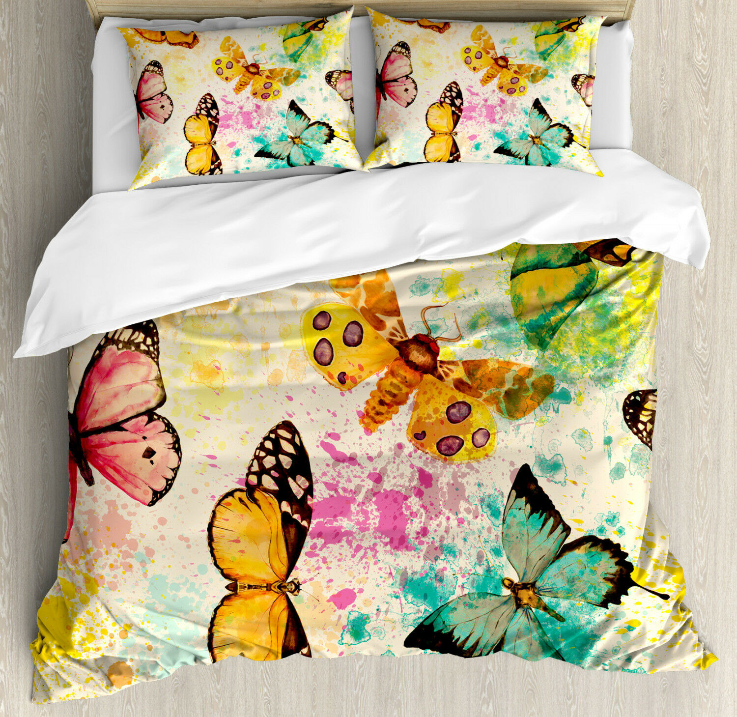 Coloreeful Duvet Cover Set with Pillow Shams Murky Grungy Butterfly Print